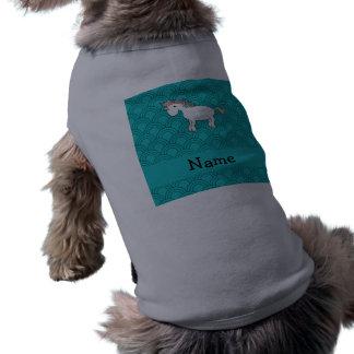 Personalized name unicorn turquoise half circles pet tee shirt