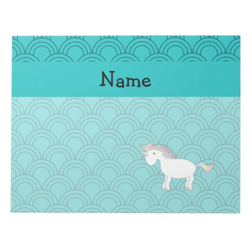 Personalized name unicorn turquoise half circles note pad
