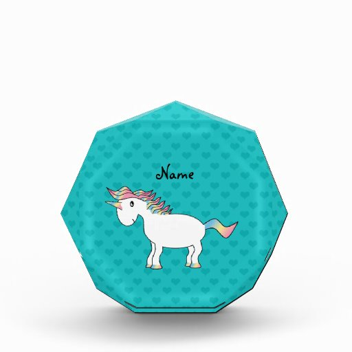 Personalized name unicorn turquoise hearts acrylic award