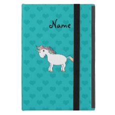 Personalized name unicorn turquoise hearts iPad mini case