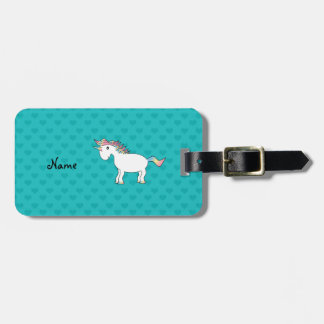 Personalized name unicorn turquoise hearts travel bag tags