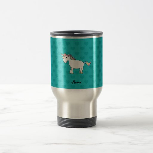 Personalized name unicorn turquoise hearts coffee mugs