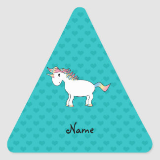 Personalized name unicorn turquoise hearts triangle sticker