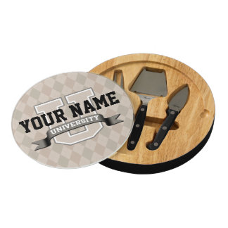 Personalized Name University Cool Funny College Cheese Platter
