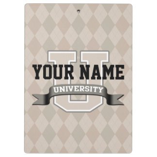 Personalized Name University Cool Funny College Clipboard