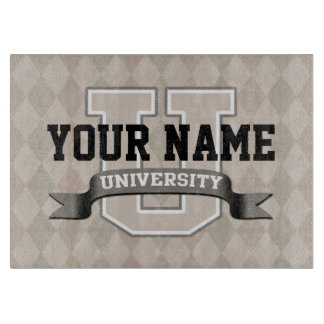 Personalized Name University Cool Funny College Cutting Board
