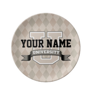 Personalized Name University Cool Funny College Dinner Plate