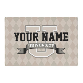 Personalized Name University Cool Funny College Laminated Place Mat