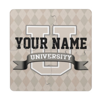 Personalized Name University Cool Funny College Puzzle Coaster