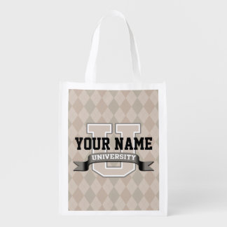 Personalized Name University Cool Funny College Reusable Grocery Bag