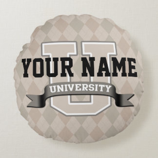 Personalized Name University Cool Funny College Round Pillow