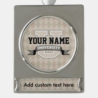 Personalized Name University Cool Funny College Silver Plated Banner Ornament