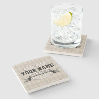 Personalized Name University Cool Funny College Stone Coaster