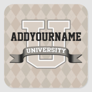 Personalized Name University Cool Funny Family Square Sticker