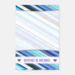 [ Thumbnail: Personalized Name; Various Shades of Blue Stripes Notes ]