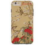 Personalized Name Vintage Birds and Flowers Tough iPhone 6 Plus Case