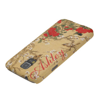 Personalized Name Vintage Birds and Flowers Case For Galaxy S5