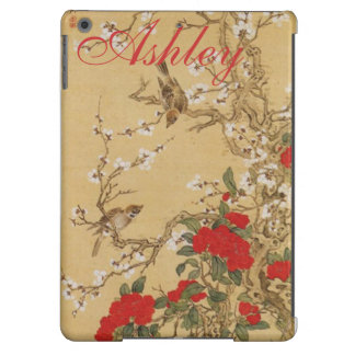 Personalized Name Vintage Birds and Flowers Cover For iPad Air