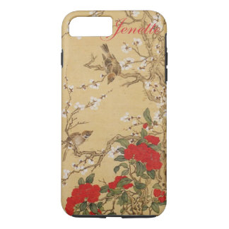 Personalized Name Vintage Birds and Flowers iPhone 7 Plus Case