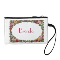 Personalized Name Vintage Floral Retro Flowers Coin Wallet
