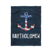 Personalized Name Vintage Patriotic USA Anchor Fleece Blanket