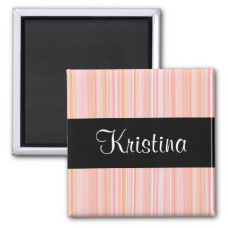 Personalized Name Vintage  Pink Stripe  Magnet
