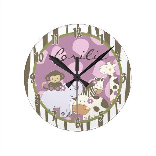 Personalized Name Wall Clock Jacana Girly Jungle