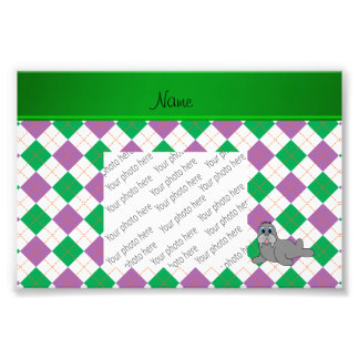 Personalized name walrus green purple argyle photo print
