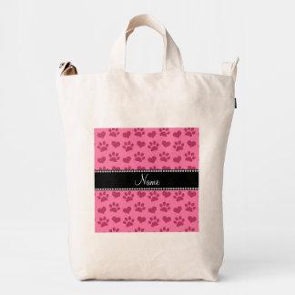 Personalized name watermelon pink hearts and paws duck bag