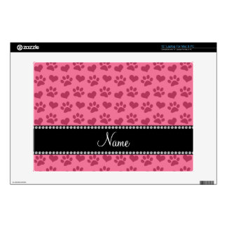 "Personalized name watermelon pink hearts and paws skin for 13"" laptop"