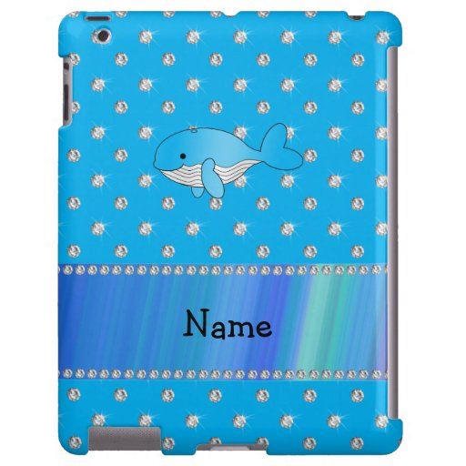 Personalized name whale blue diamonds