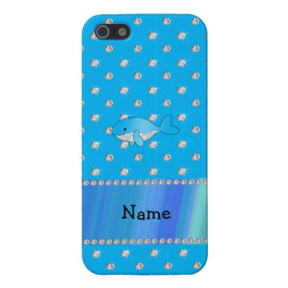 Personalized name whale blue diamonds cases for iPhone 5