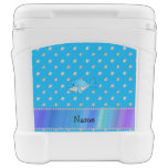 Personalized name whale blue diamonds igloo rolling cooler