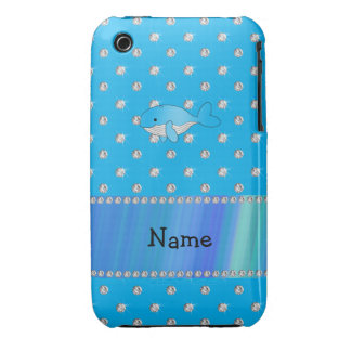Personalized name whale blue diamonds iPhone 3 Case-Mate case