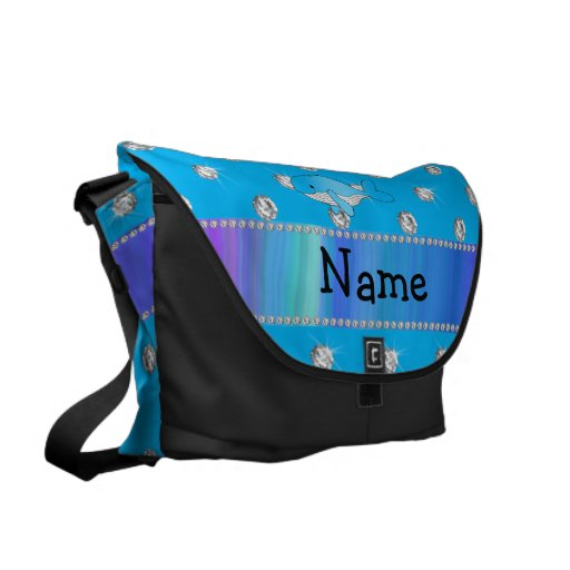 Personalized name whale blue diamonds messenger bag