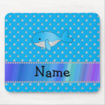 Personalized name whale blue diamonds mouse pads