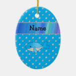 Personalized name whale blue diamonds christmas ornaments