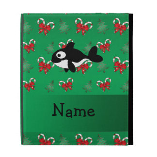 Personalized name whale green candy canes bows iPad folio case