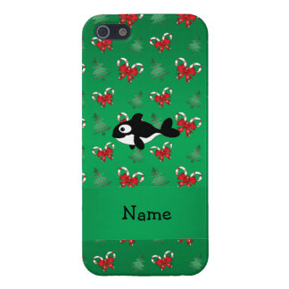 Personalized name whale green candy canes bows cover for iPhone 5/5S