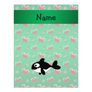 Personalized name whale green candy canes bows flyers