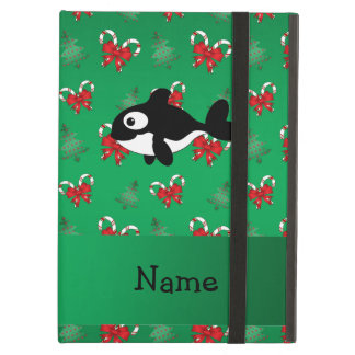 Personalized name whale green candy canes bows iPad cover