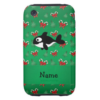 Personalized name whale green candy canes bows iPhone 3 tough case