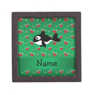 Personalized name whale green candy canes bows premium jewelry box