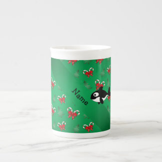Personalized name whale green candy canes bows bone china mug