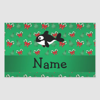 Personalized name whale green candy canes bows rectangular stickers