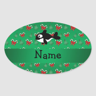 Personalized name whale green candy canes bows oval stickers