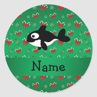Personalized name whale green candy canes bows sticker