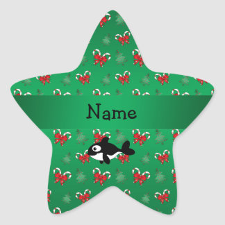Personalized name whale green candy canes bows star stickers