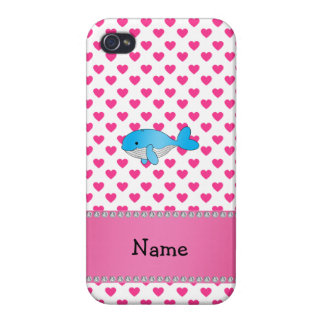 Personalized name whale pink hearts iPhone 4/4S covers