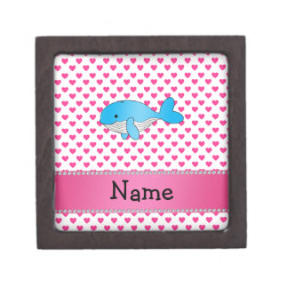 Personalized name whale pink hearts premium jewelry boxes
